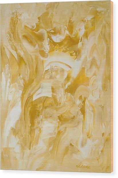 Golden Flow Wood Print