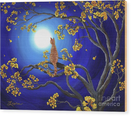 Golden Flowers In Moonlight Wood Print