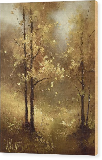 Golden Forest Wood Print