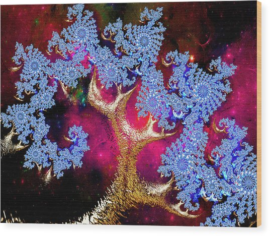 Golden Fractal Tree Wood Print