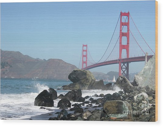 Golden Gate Beach Wood Print