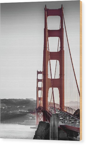 Golden Gate Black And Red Wood Print