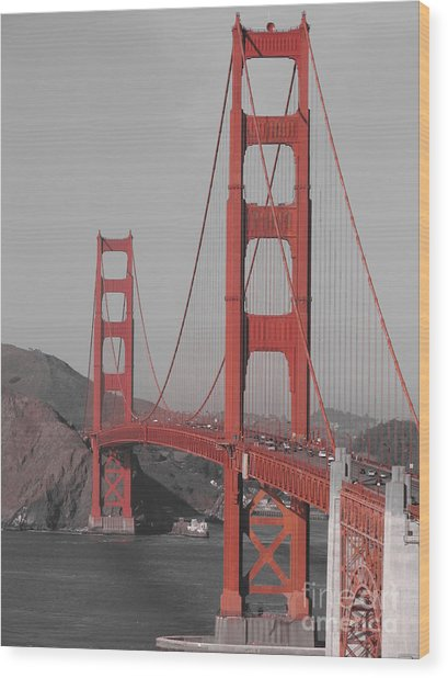 Golden Gate Black And White Wood Print by Jeff White