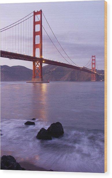 Golden Gate Bridge At Dusk Wood Print by Mathew Lodge