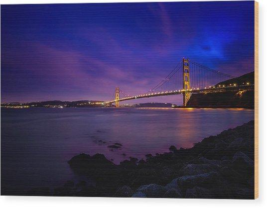 Golden Gate Bridge At Night Wood Print