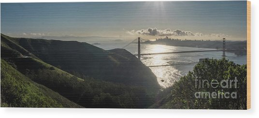 Golden Gate Bridge From The Road Up The Mountain Wood Print