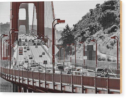 Golden Gate Bridge Street View Wood Print
