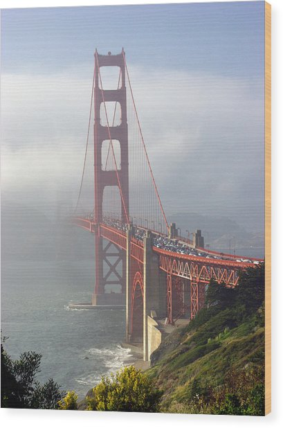 Golden Gate Bridge In The Fog Wood Print by Mathew Lodge