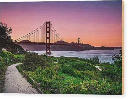 Golden Gate Bridge San Francisco California At Sunset Wood Print
