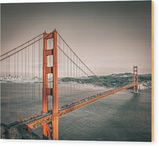 Golden Gate Bridge Selective Color Wood Print