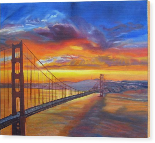 Golden Gate Bridge Sunset Wood Print