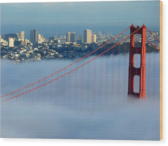 Golden Gate Bridge Tower In Sunshine And Fog Wood Print