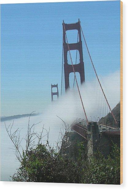 Golden Gate Bridge Towers In The Fog Wood Print