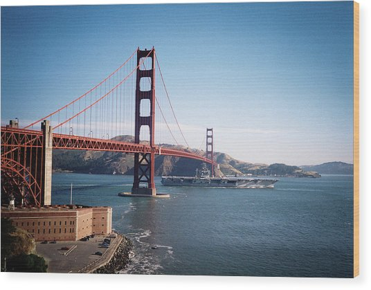 Golden Gate Bridge With Aircraft Carrier Wood Print
