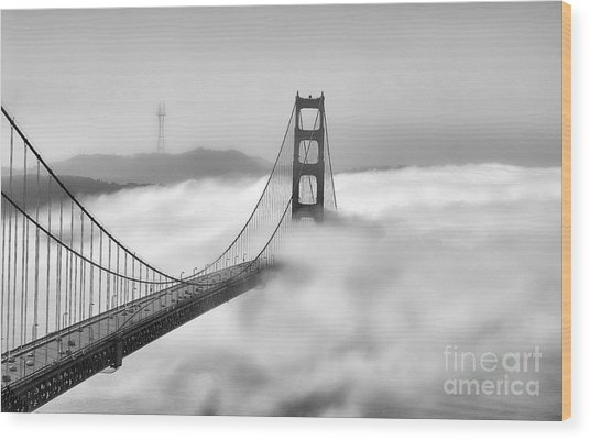 Golden Gate Bw Fog Wood Print