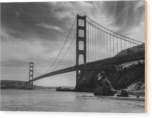 Golden Gate East Bw Wood Print