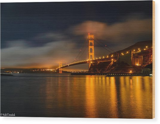 Golden Gate Night Wood Print