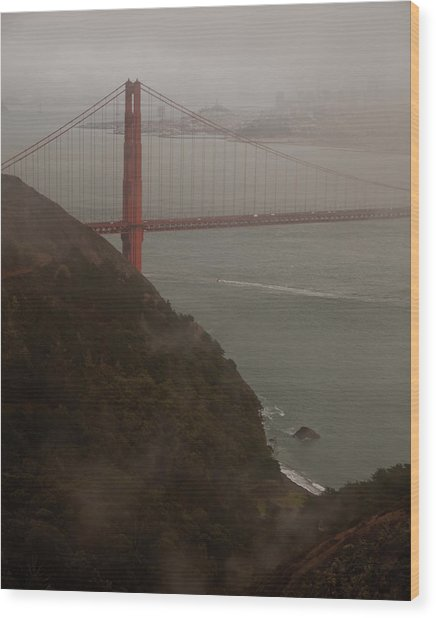 Golden Gate On A Grey Day Wood Print by Patrick  Flynn