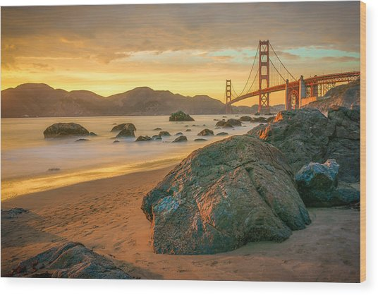 Golden Gate Sunset Wood Print
