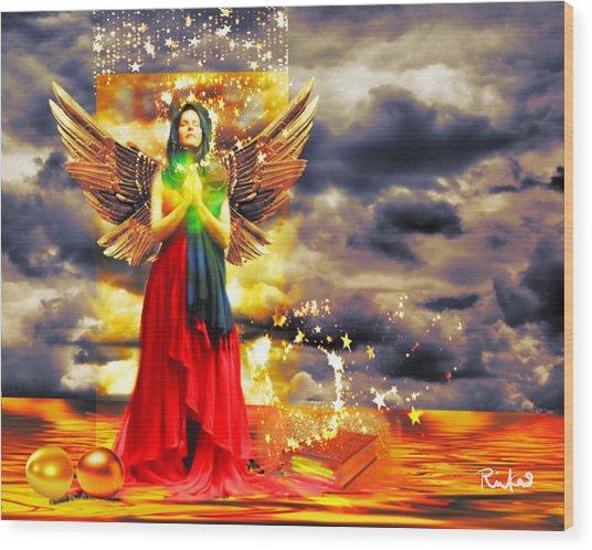 Golden Goddess Of Gratitude Wood Print