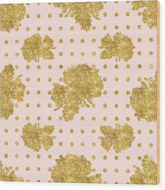 Golden Gold Blush Pink Floral Rose Cluster W Dot Bedding Home Decor Wood Print