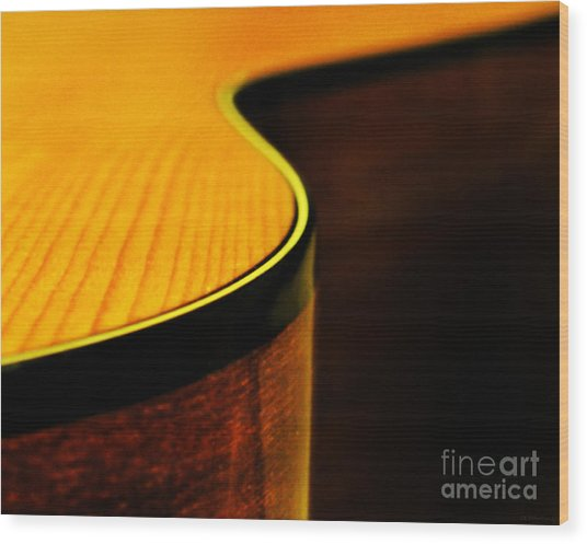 Golden Guitar Curve Wood Print