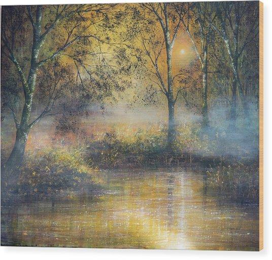 Golden Haze Wood Print by Ann Marie Bone