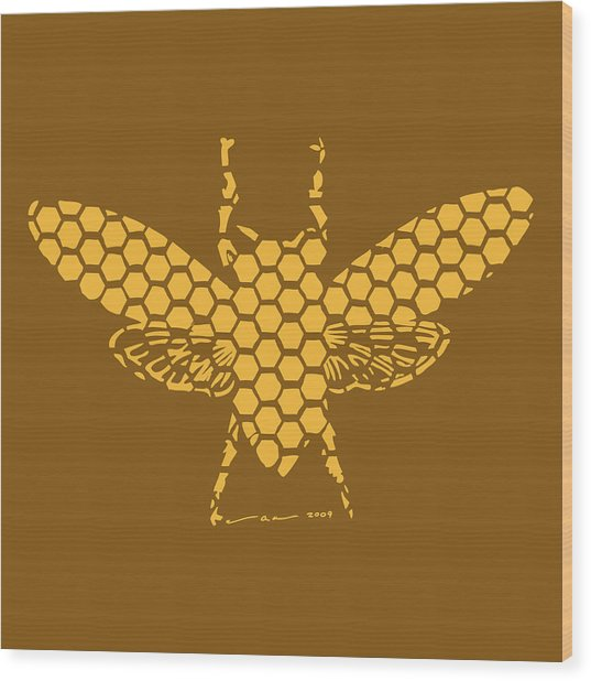 Golden Hex Bee Wood Print by Karl Addison