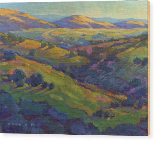 Wood Print featuring the painting Golden Hills by Konnie Kim
