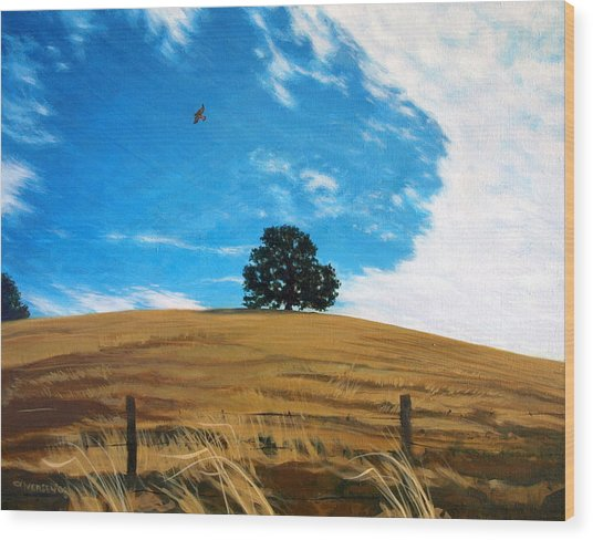 Golden Hills Summer Sky Wood Print by Jill Iversen