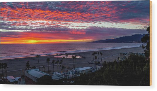 Golden Horizon At Sunset -  Panorama Wood Print