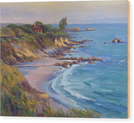 Wood Print featuring the painting Golden Hour At Corona Del Mar by Konnie Kim