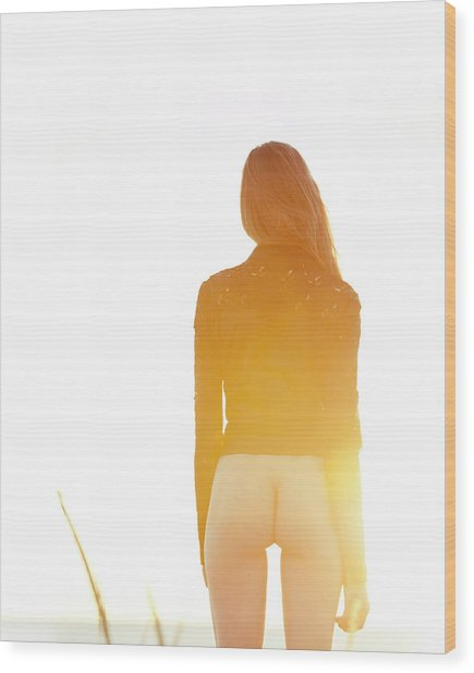 Golden Hour Girl Wood Print