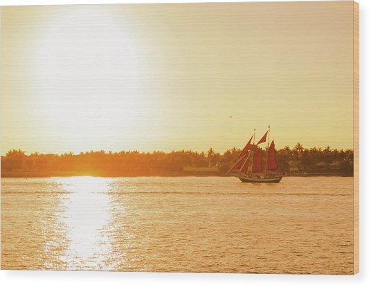 Golden Hour Sailing Ship Wood Print