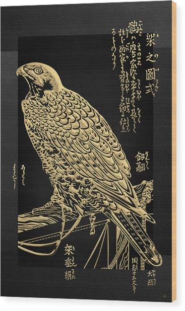 Golden Japanese Peregrine Falcon On Black Canvas  Wood Print