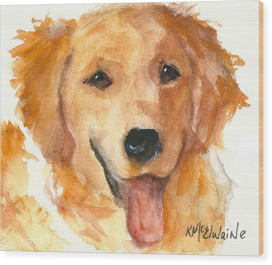 Golden Retriever Watercolor Painting By Kmcelwaine Wood Print