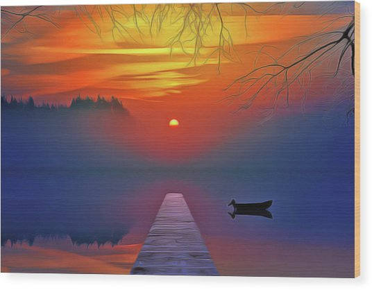 Golden Lake Wood Print