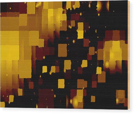 Wood Print featuring the digital art Golden Light And Dark  by Shelli Fitzpatrick