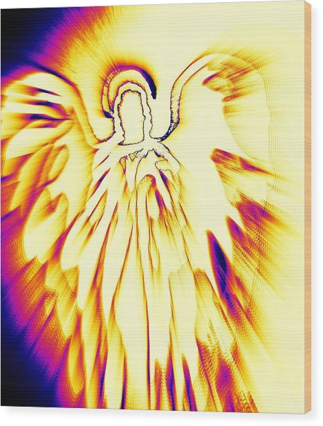 Golden Light Angel Wood Print