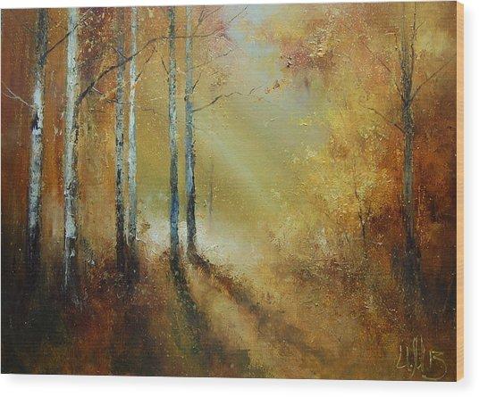 Golden Light In Autumn Woods Wood Print