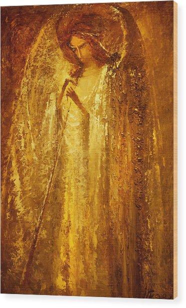 Golden Light Of Angel Wood Print