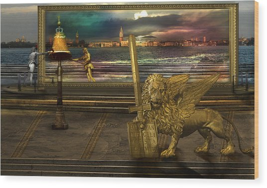 Golden Lion From Alternative Earth Wood Print by Desislava Draganova