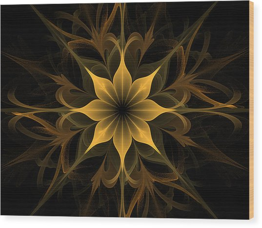 Golden Lotus Swirls Wood Print