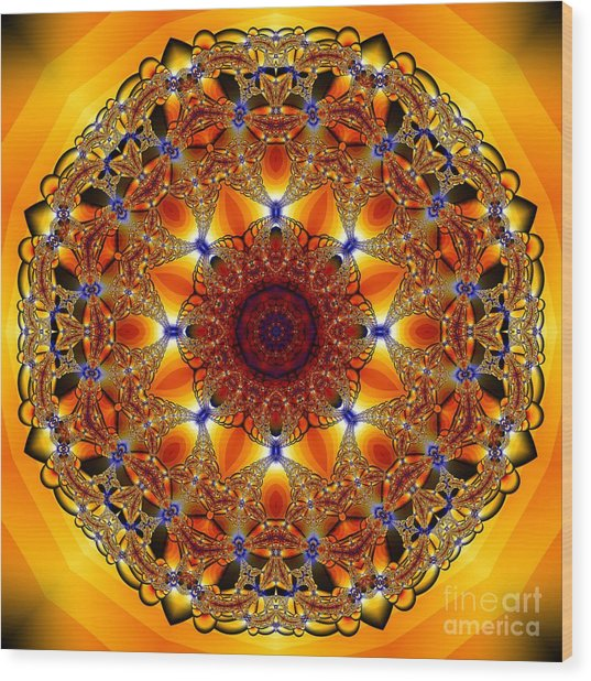 Golden Mandala Wood Print
