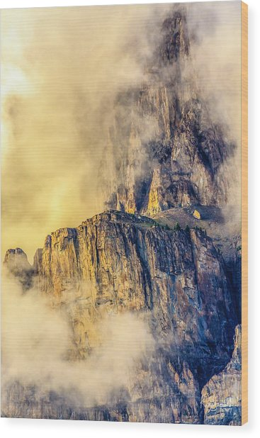 Golden Mist On Cathedral Mountain Wood Print