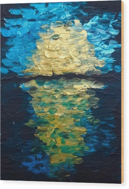 Golden Moon Reflection Wood Print