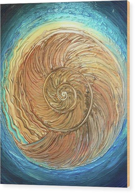 Golden Nautilus Wood Print