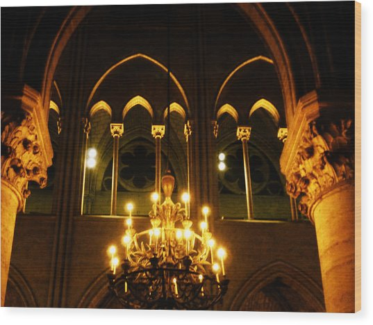 Golden Notre Dame Wood Print