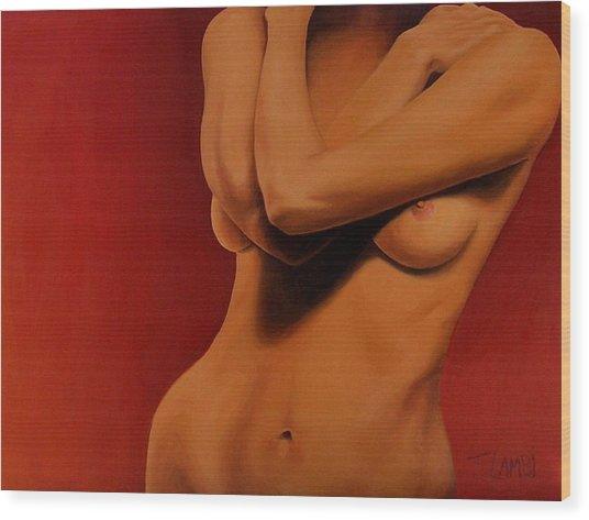 Golden Nude Wood Print by Trisha Lambi