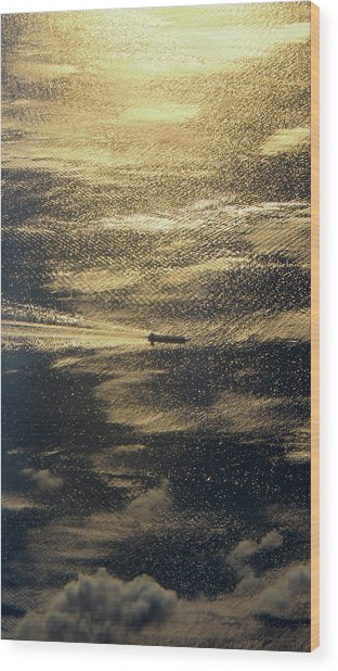 Golden Ocean Wood Print